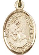 """St. Elizabeth of the Visitation - .50"""" Oval - Gold Filled Side Medal"""