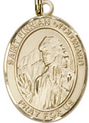 "St. Finnian of Clonard - .50"" Oval - Gold filled Side Medal"