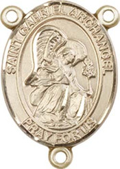 "St. Gabriel the Archangel - .75"" Oval - Gold Filled Centerpiece"