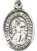 "St. Gabriel the Archangel - .50"" Oval - Sterling Silver Side Medal"