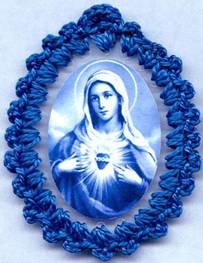 Crocheted badges of the Immaculate Heart of Mary, relic badge of the Immaculate Heart with cloth touched to the veil of the Blessed Virgin Mary