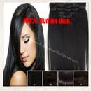 "Clip in 100% Human Hair Extensions 16"" (40cm) 7 pcs Set 70gr Cabelo Humano"