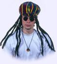 Adult Rasta Applejack with Dreadlocks Costume Cap Trancas Rastafari