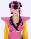 Party Geisha Wig Pink Black Festas Peruca Japonesa