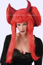 "Halloween Costume 22"" Devil Red Wig w/Horns Peruca Teatro Festas"