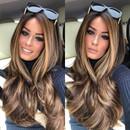 New Brown Straight Long Human Hair Wig  Peruca Longa Cabelo Humano