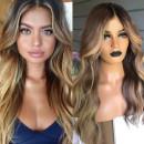 Blonde and Brown Long Human Blend Hair Wig  Peruca Longa Loiro c/Castanho