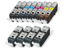 Canon Ink Cartridge 12PK - 4 PGI220 & CLI221 - 2 Black, 2 Cyan, 2 Magenta, 2 Yellow (Compatible)