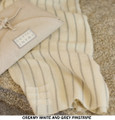 Organic Merino Wool / Silk Wraps Grey Pinstripes w/ Creamy White