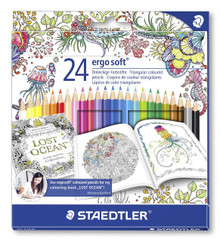 Staedtler 24 Ergo Soft Triangular Coloured Pencils - Johanna Basford Edition