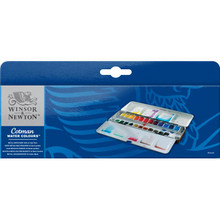 COTMAN WATER COLOURS METAL SKETCHERS' BOX - 24 HALF PANS