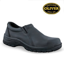 Slip on shoe, water resistant full grain leather, fully lined, elastic gusset. Steel toe