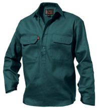 K04020 King Gee Closed Front Drill Shirt L/S -  Green