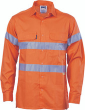 3987 DNC HiVis Cool-Breeze Cotton Shirt with 3M 8906 R/Tape - Orange