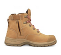 Ankle Height Zip Side Lace Up Boot, Water Resistant Nubuck Leather, Padded Collar, Fully Lined.