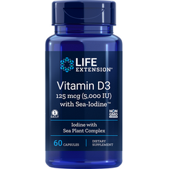 Vitamin D3 with Sea-Iodine, 5,000 IU, 60 capsules