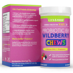 Ultra Probiotic 6b Kid's Digestive Health Formula - Wildberry Flavored Chews,  6B CFU, 2 Strains