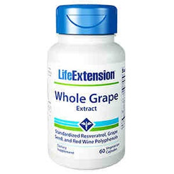 Whole Grape Extract Standardized Resveratrol, Grape Seed, and Red Wine Polyphenols, 60 vegetarian capsules