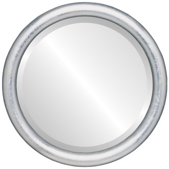 Round Picture Frame in Silver Leaf with Brown Antique
