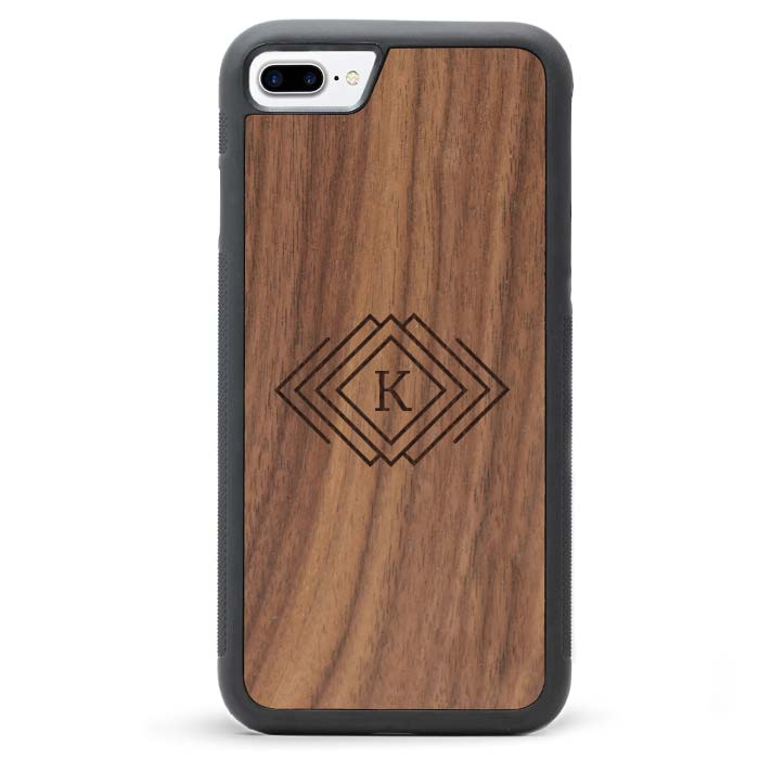 Custom Monogram Real Wooden iPhone 7 PLUS Cases Diamonds