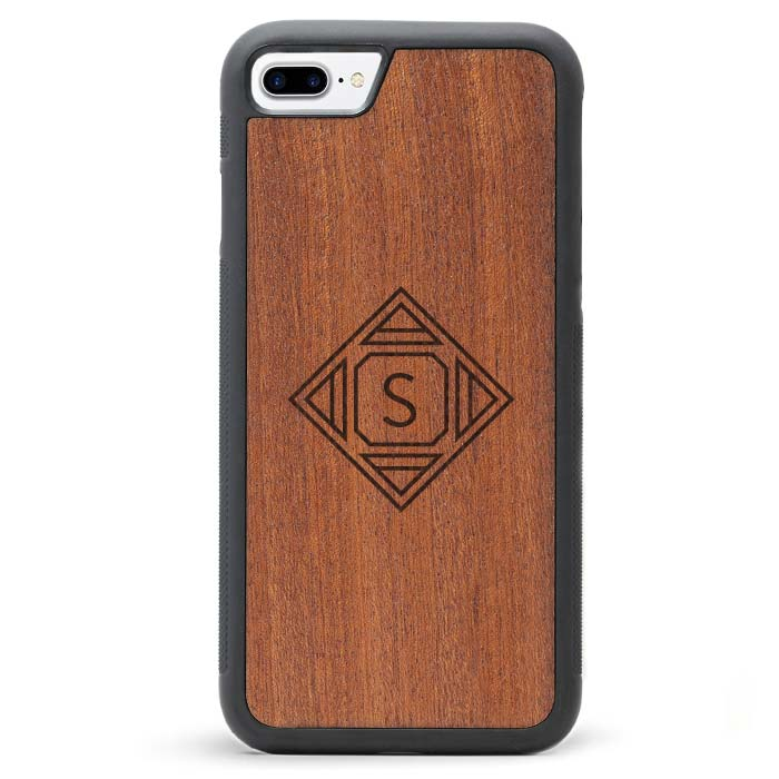 Custom Monogram Real Wooden iPhone 7 PLUS Cases Geometric