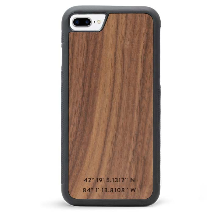 Custom Monogram Real Wooden iPhone 7 PLUS Cases GPS