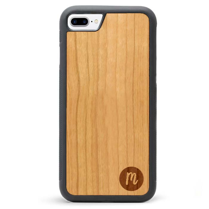Custom Monogram Real Wooden iPhone 7 PLUS Cases Solid Circle