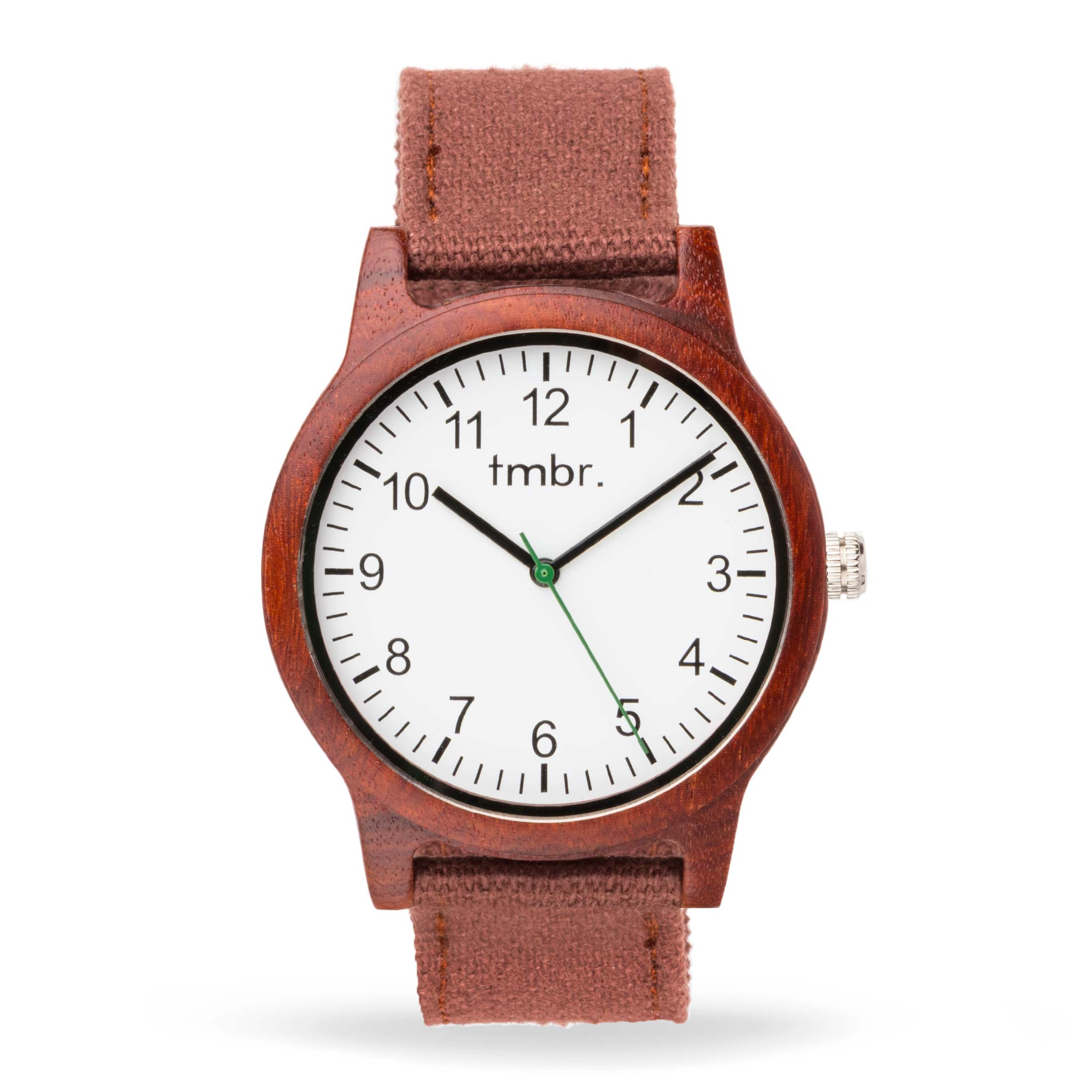 Engraved Tmbr Burly Wood Watch With Leather Strap
