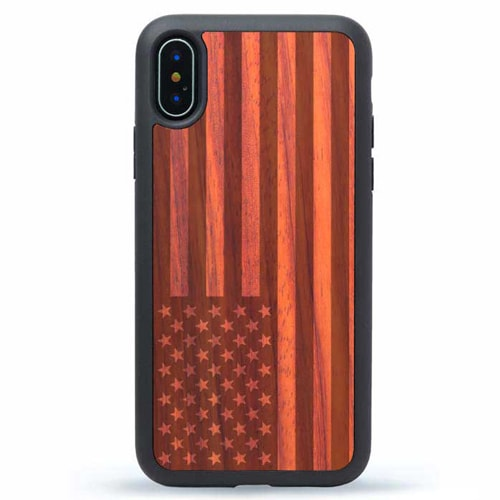 iPhone XS Wooden Case - American Flag Design