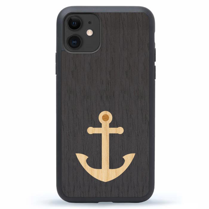 Anchor Inlay Wood iPhone 12 Phone Cover