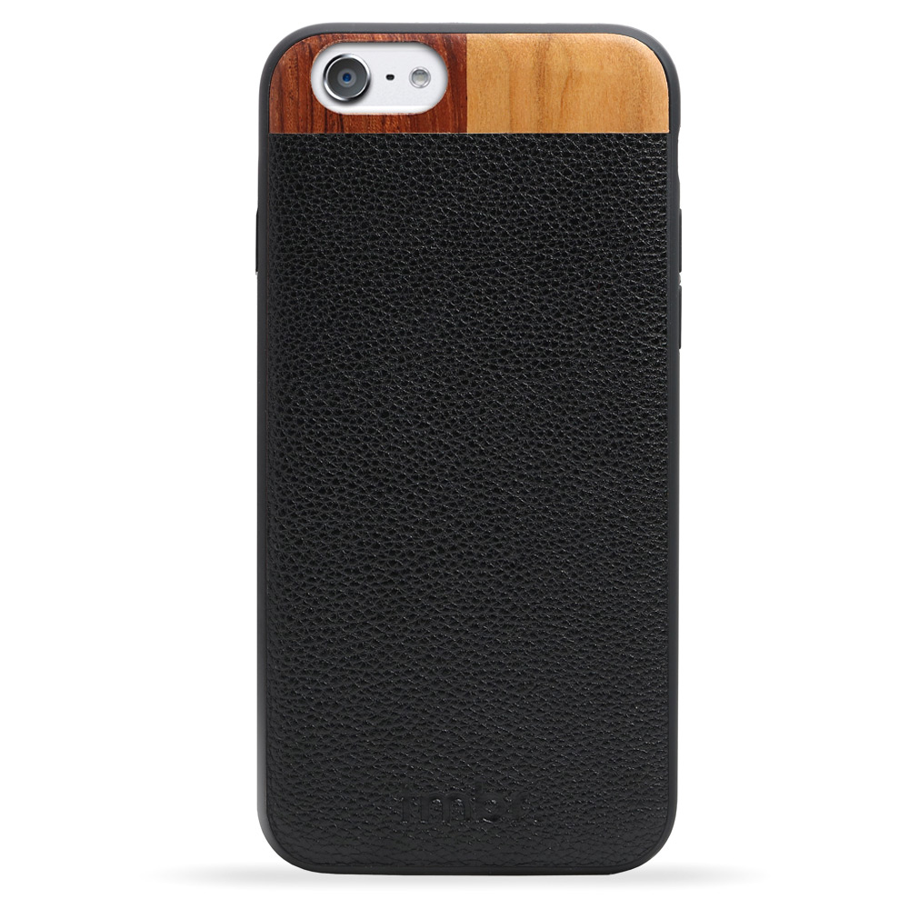 Leather/Wood iPhone 6/6s Case Black