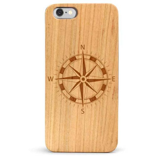 Compass Phone Case Made From Wood