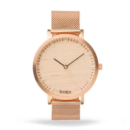 Helm Wood Watch Metal Band Rose Gold