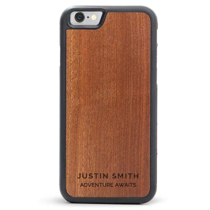 Custom Engraved Text Wooden iPhone Case