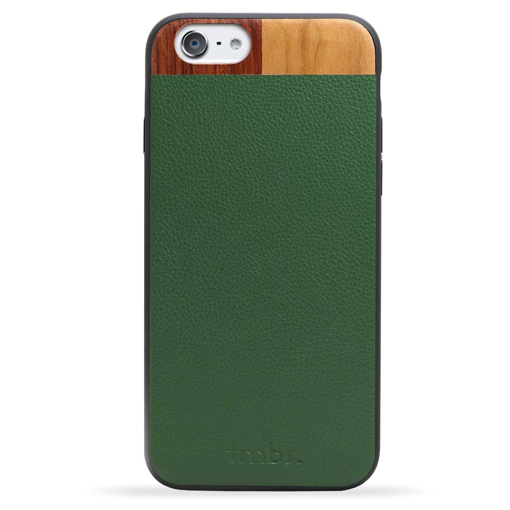 Leather/Wood iPhone 6/6s Case Green