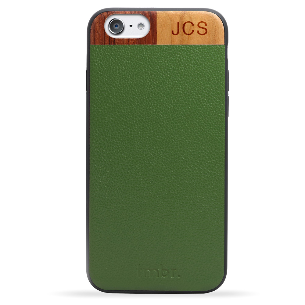 Green Monogram Leather & Wood iPhone 7 Phone Case