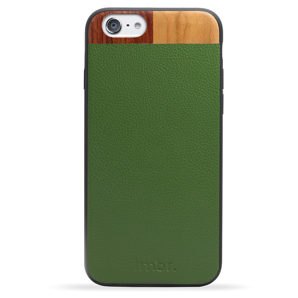 Green Leather & Wood iPhone 7 Phone Case