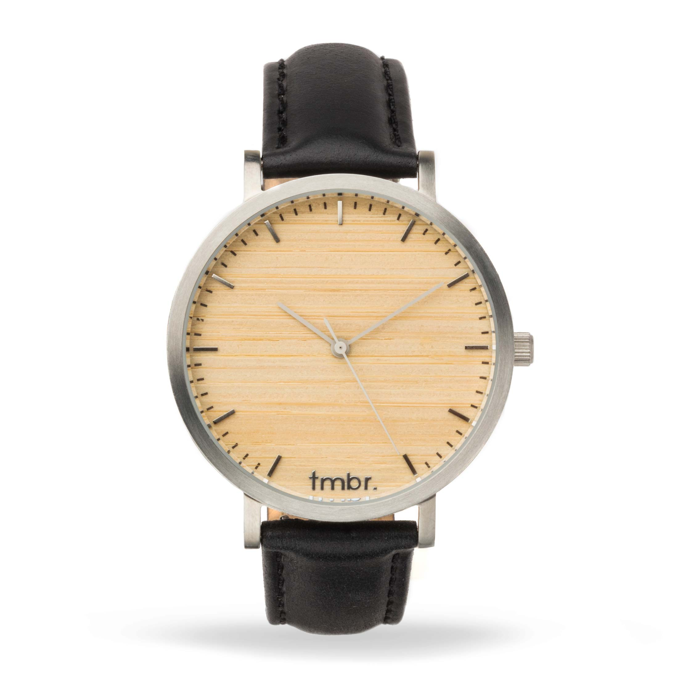 Helm Minimalist Wooden Personalized Watch Silver Cottonwood