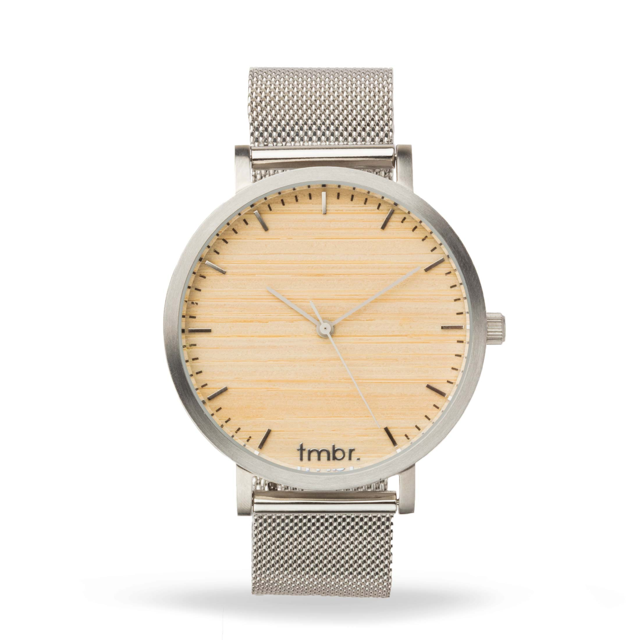 Women's Wood Watch - Silver Cottonwood Metal Mesh Band