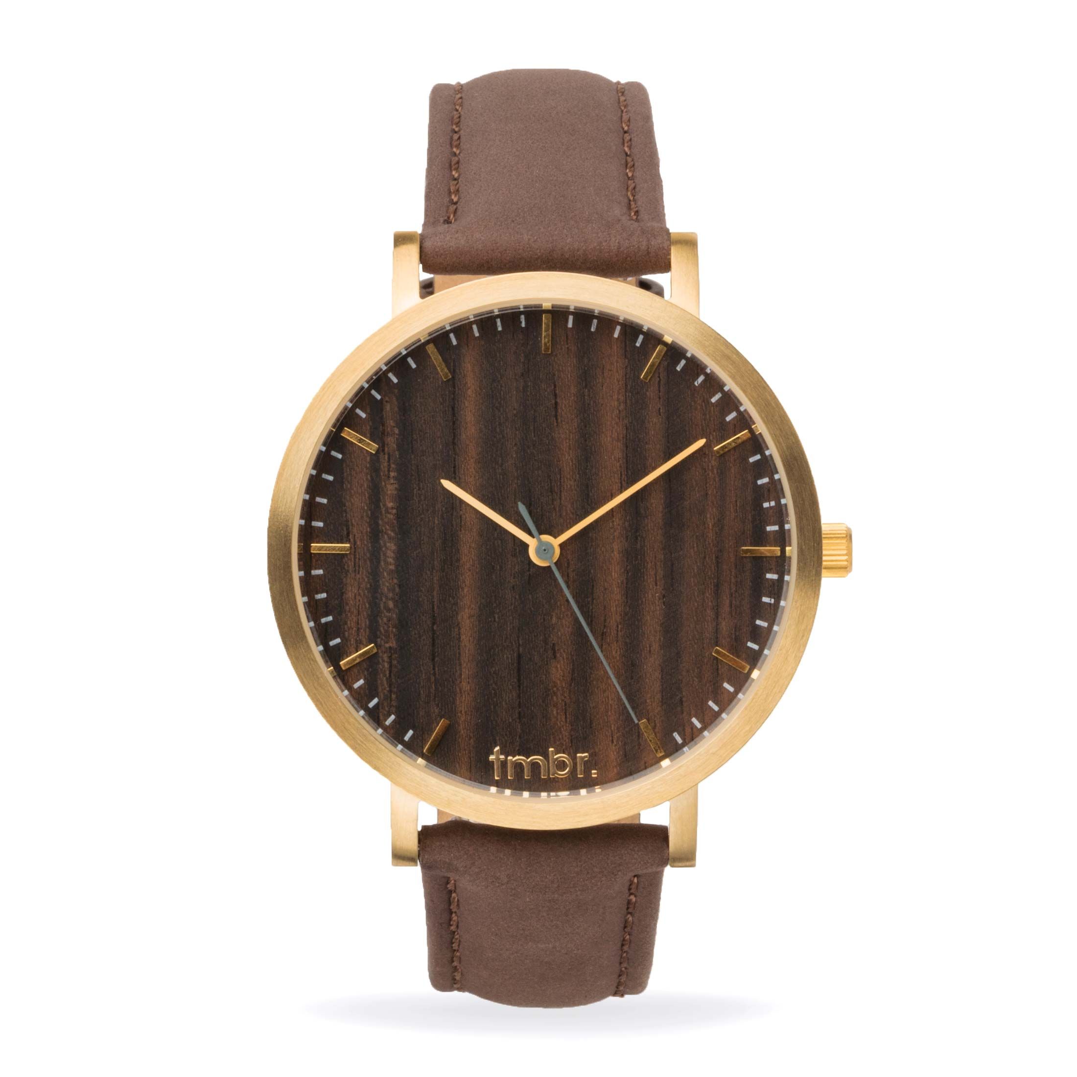 Tmbr Helm Minimalist Wooden Personalized Watch Walnut Gold