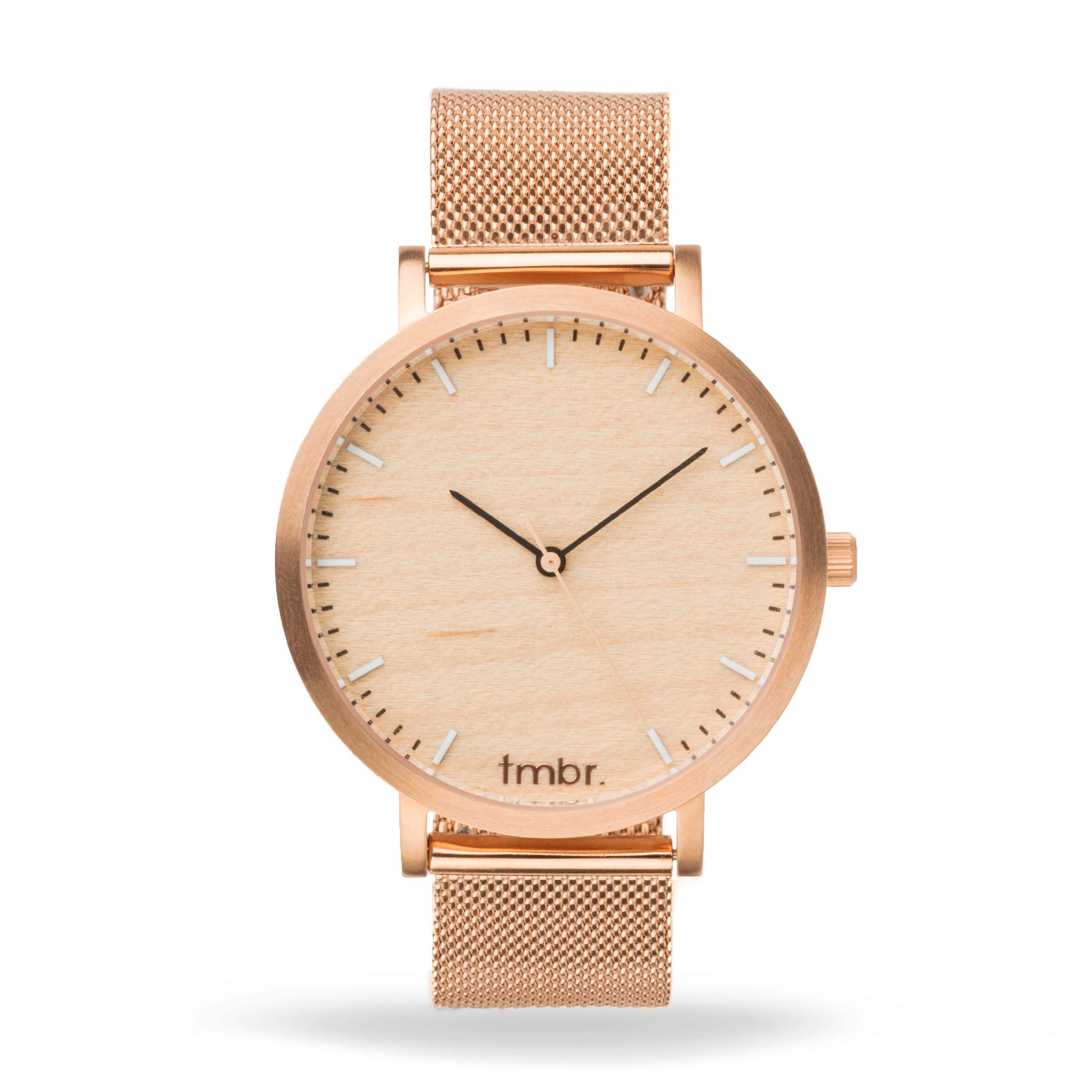 Tmbr Helm Minimalist Wooden Personalized Watch Rose Gold