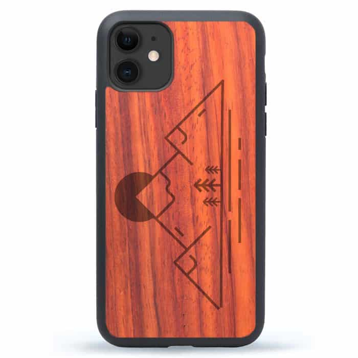 iPhone 11 Simple Mountain Wood Case