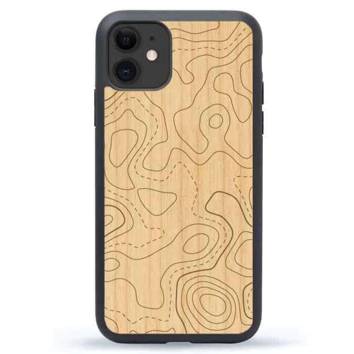 Topo Map Wooden iPhone 12 Case