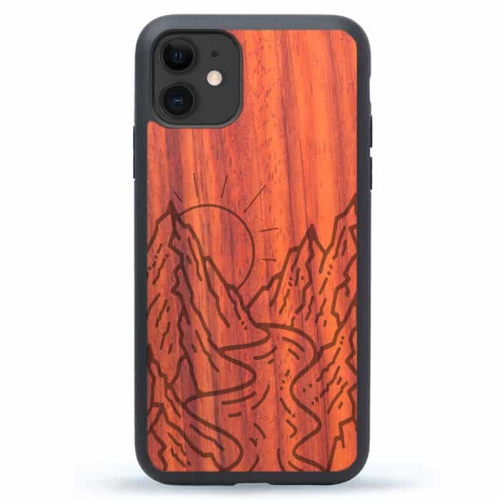 iPhone 12 Wood Phone Case - Mountains