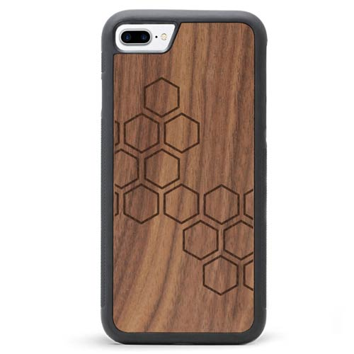 Engraved Wood iPhone 8 Case Honeycomb