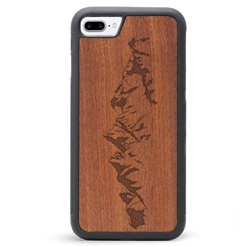 Engraved Wood iPhone 7 Plus Case Mountains