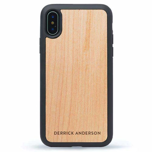iPhone X Wood Case Monograms
