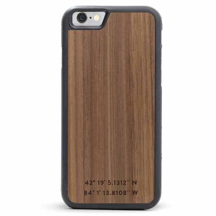 Custom GPS Coordinates iPhone 8 Wood Case