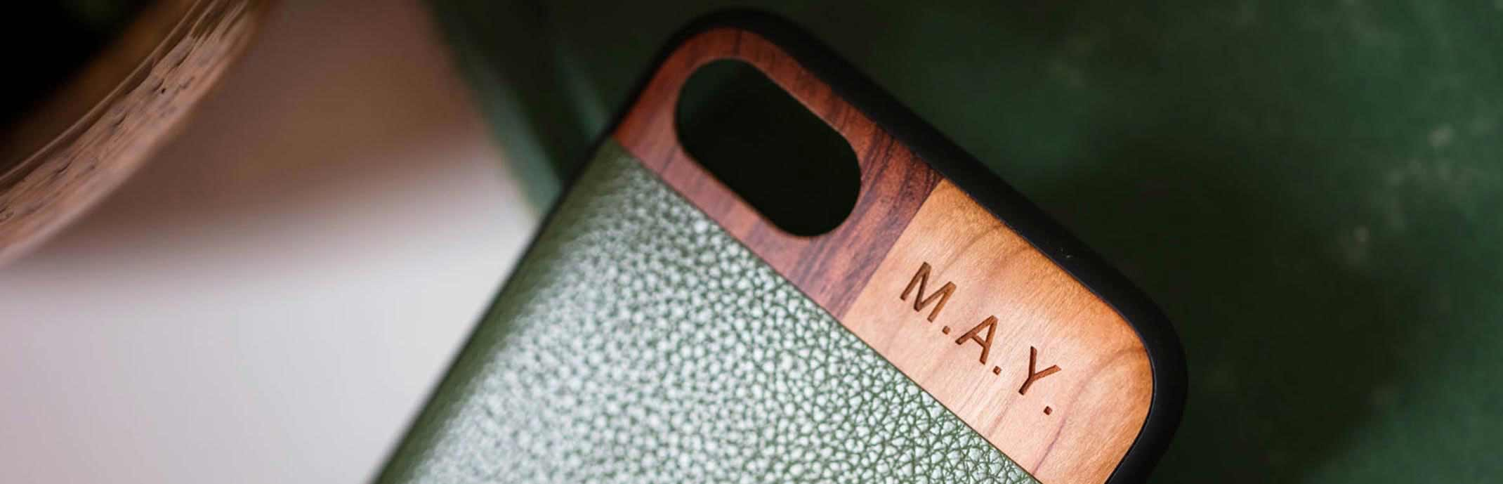 Monogrammed Wood and Leather iPhone 6 /7 Phone Cases