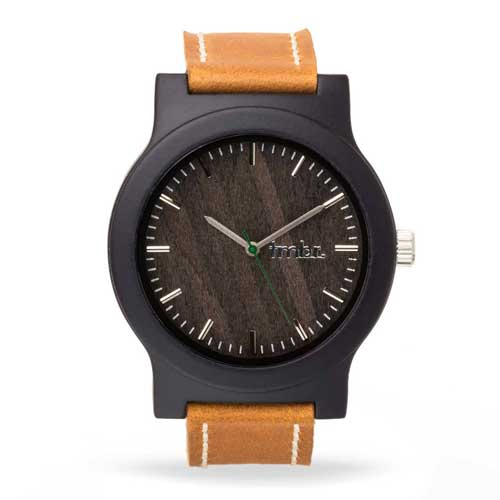 Tmbr Burly Wood Watch With Leather Strap